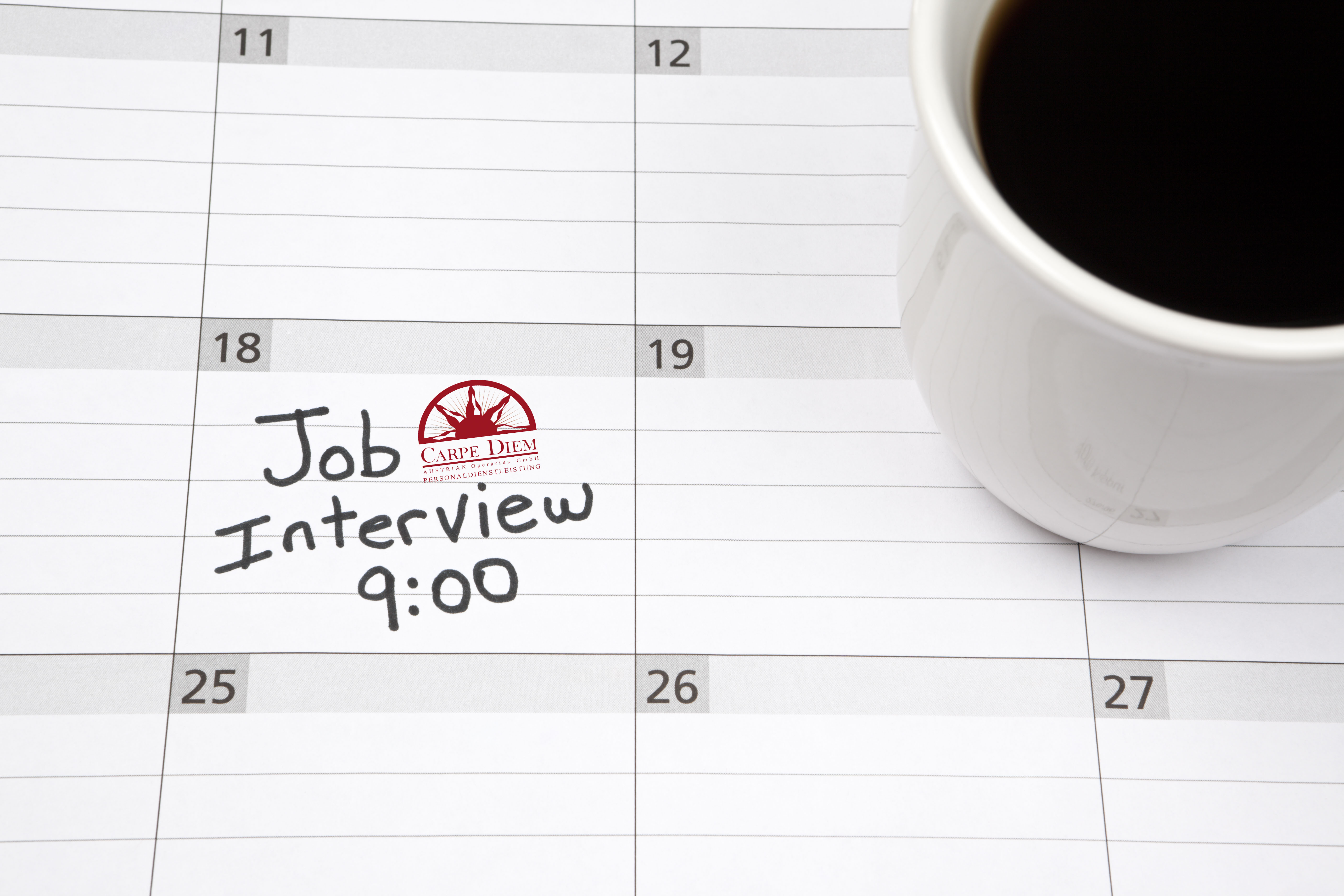 Job Interview Reminder on a Calendar